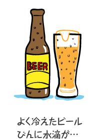 よく冷えたビールびんに水滴が…